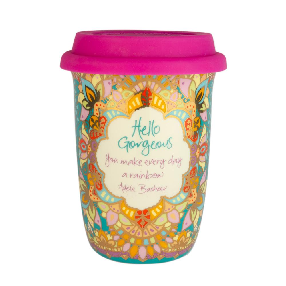 Colourful Turquoise Patterned Portable Coffee Travel Mug