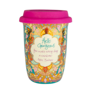 Colourful Turquoise Patterned Coffee Travel Mug