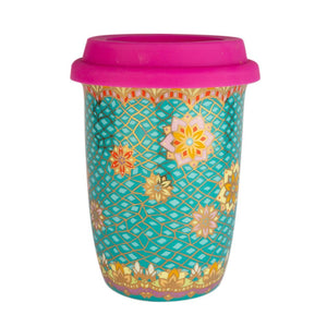 Turquoise and Hot Pink Ceramic Keep Cup
