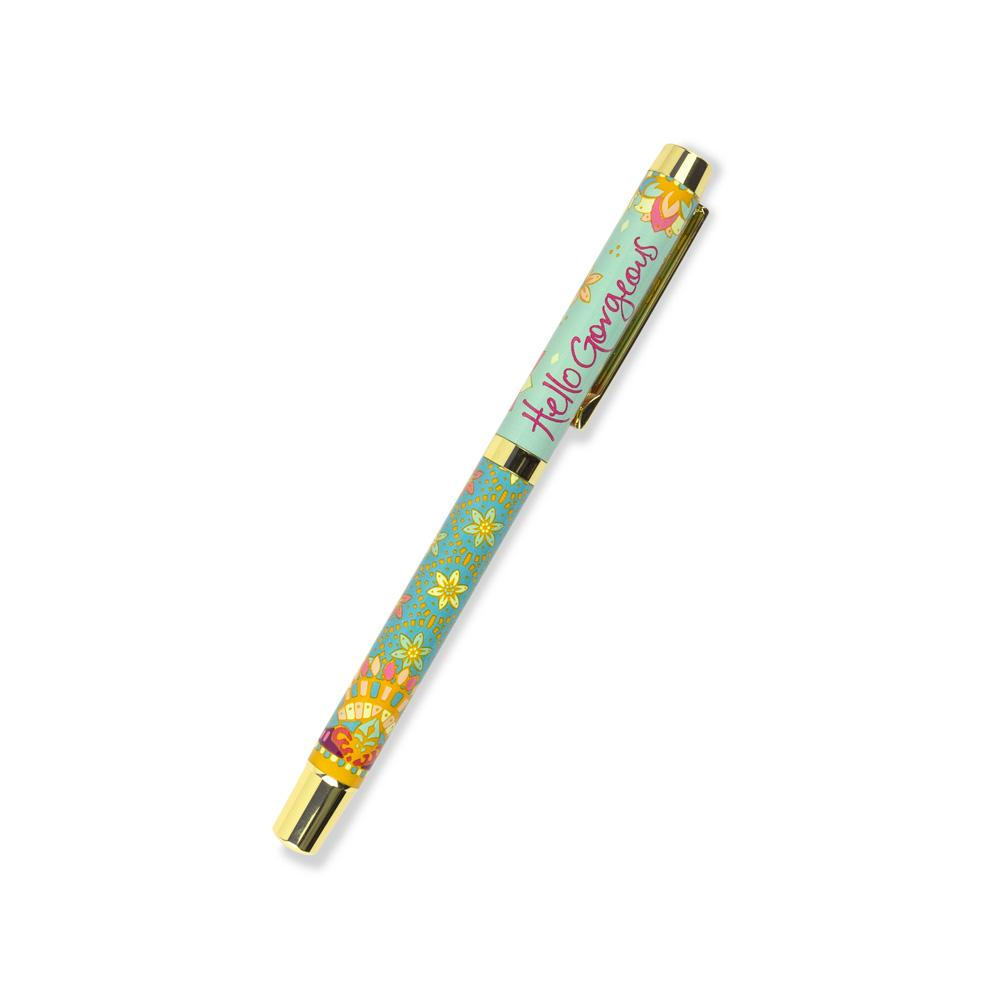 Intrinsic Turquoise Flower Pattern Rollerball Pen with Indigo Ink