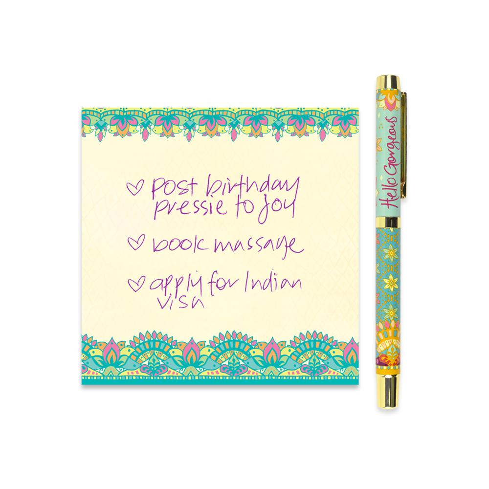 Turquoise Green Patterned Rollerball Pen with Purple Ink and Matching Stationery