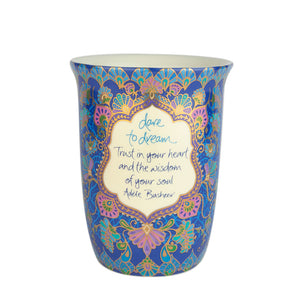 Navy Blue Illustrated Travel Mug with Adele Basheer Quote