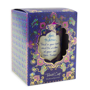 Deep Purple Boho Ceramic Coffee Travel Mug Gift Box