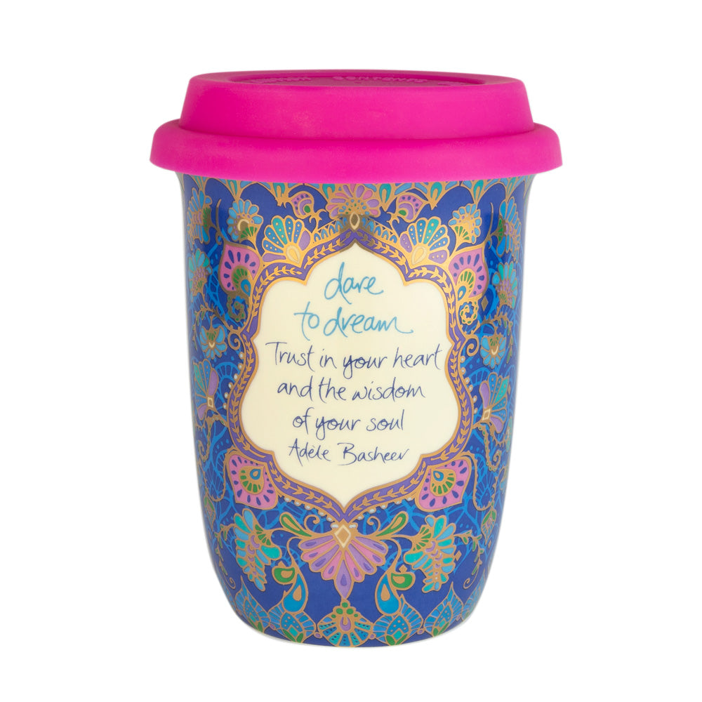 Deep Blue Boho Patterned Ceramic Travel Mug Coffee Cup