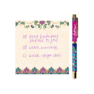 Purple and Navy Dream Rollerball Pen with Pink Ink and Matching Notepaper