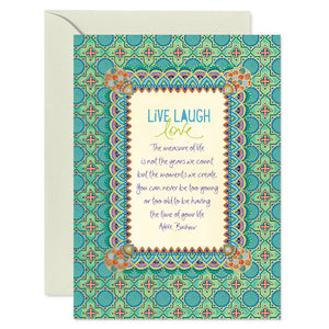 Intrinsic Live Laugh Love Greeting Birthday Card