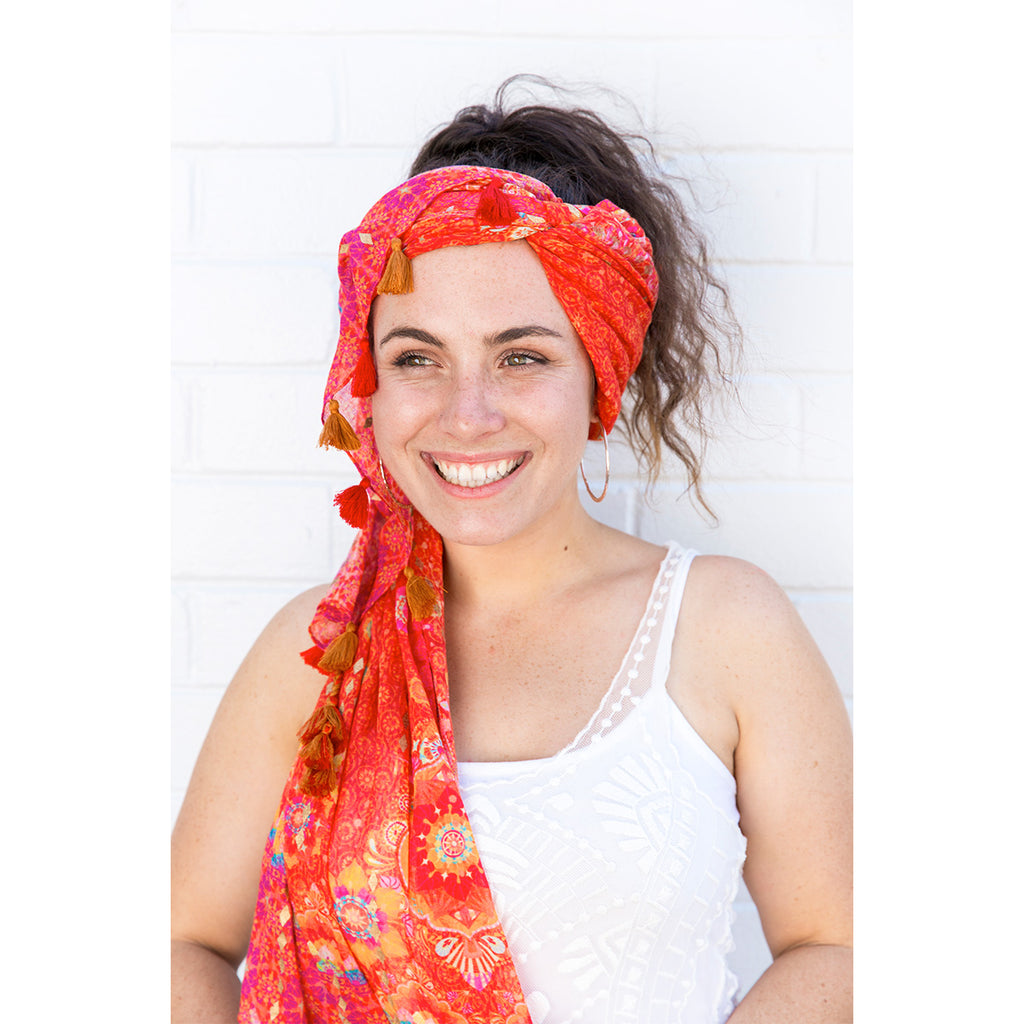 Intrinsic Live Laugh Love Tassel Head Scarf