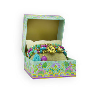 Intrinsic Pastel Turquoise/Purple Beaded Bracelet Gift Box with Inspirational Quotes