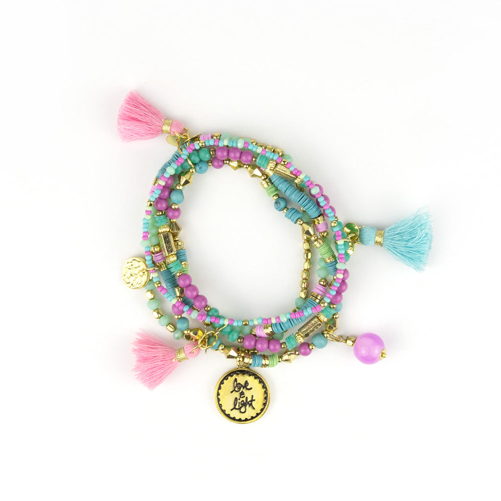 Intrinsic Pastel Turquoise, Aqua and Lavender Purple Beaded Bliss Boho Charm Bracelets
