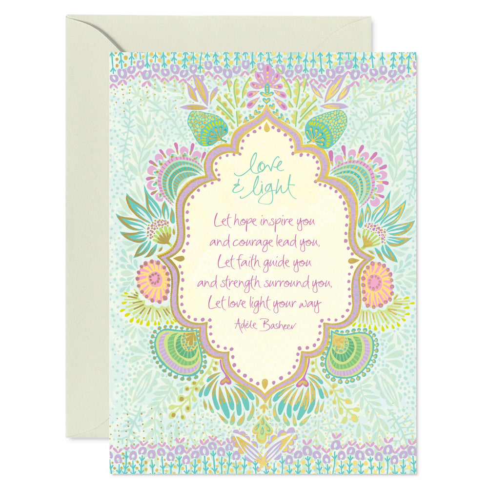 Intrinsic Love & Light Healing Greeting Card with Inspirational Quote