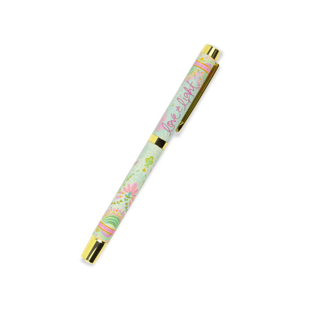 Soft Pastel Green, Lilac and Yellow Patterned Rollerball Pen with Indigo Ink