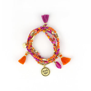 Intrinsic Hot Pink and Orange Beaded Boho Fashion Bracelets