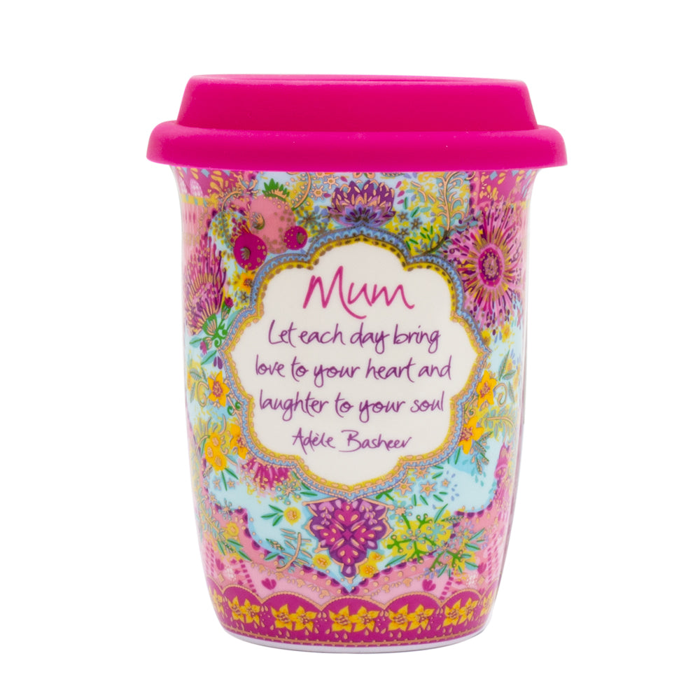 Intrinsic Pink Native Blooms Mum Travel Coffee and Tea Cup