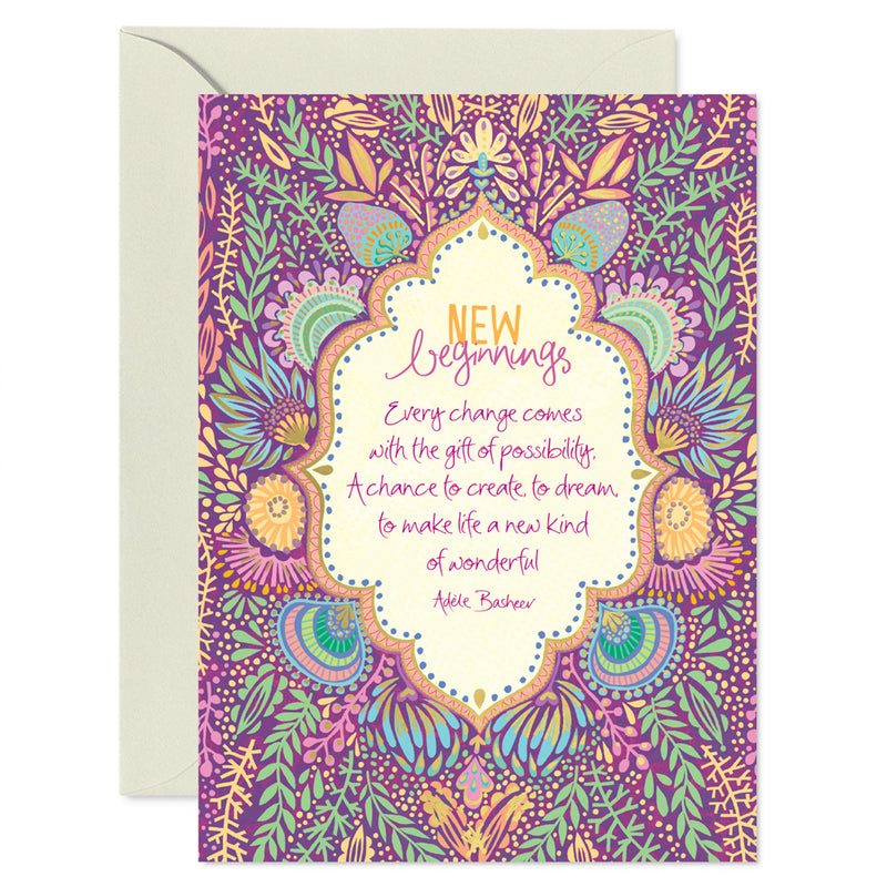 Intrinsic Purple New Beginnings Greeting Card with inspirational message
