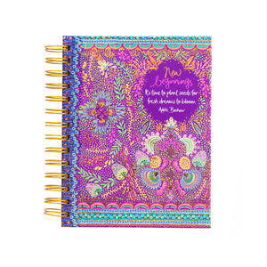 Australian Intrinsic Office Stationery Purple New Beginnings Spiral Notebook