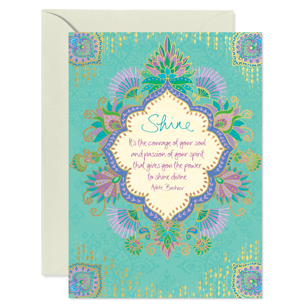 Intrinsic Aqua Shine Just Because Inspirational Greeting Card