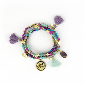 Intrinsic Turquoise and Violet Beaded Tassel Boho Bracelet Stack