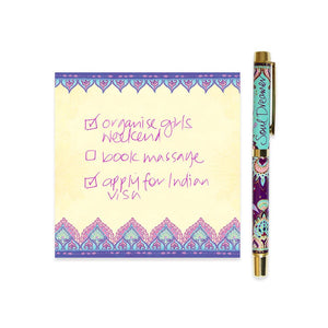 Turquoise and Purple Soul Dreamer Rollerball Pen with Pink Ink