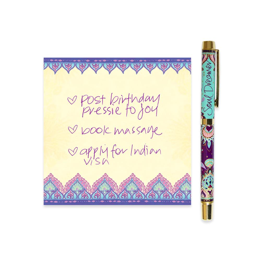 Turquoise Soul Dreamer Rollerball Pen with Purple Ink and Matching Notepaper