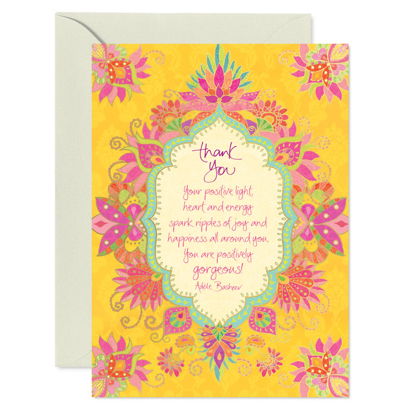 Intrinsic Yellow and Pink Thank You Greeting Card with inspirational words