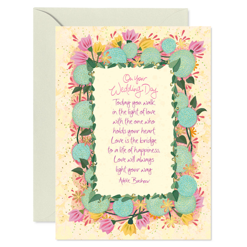 Intrinsic Wedding Blooms Greeting Card with inspirational love quote