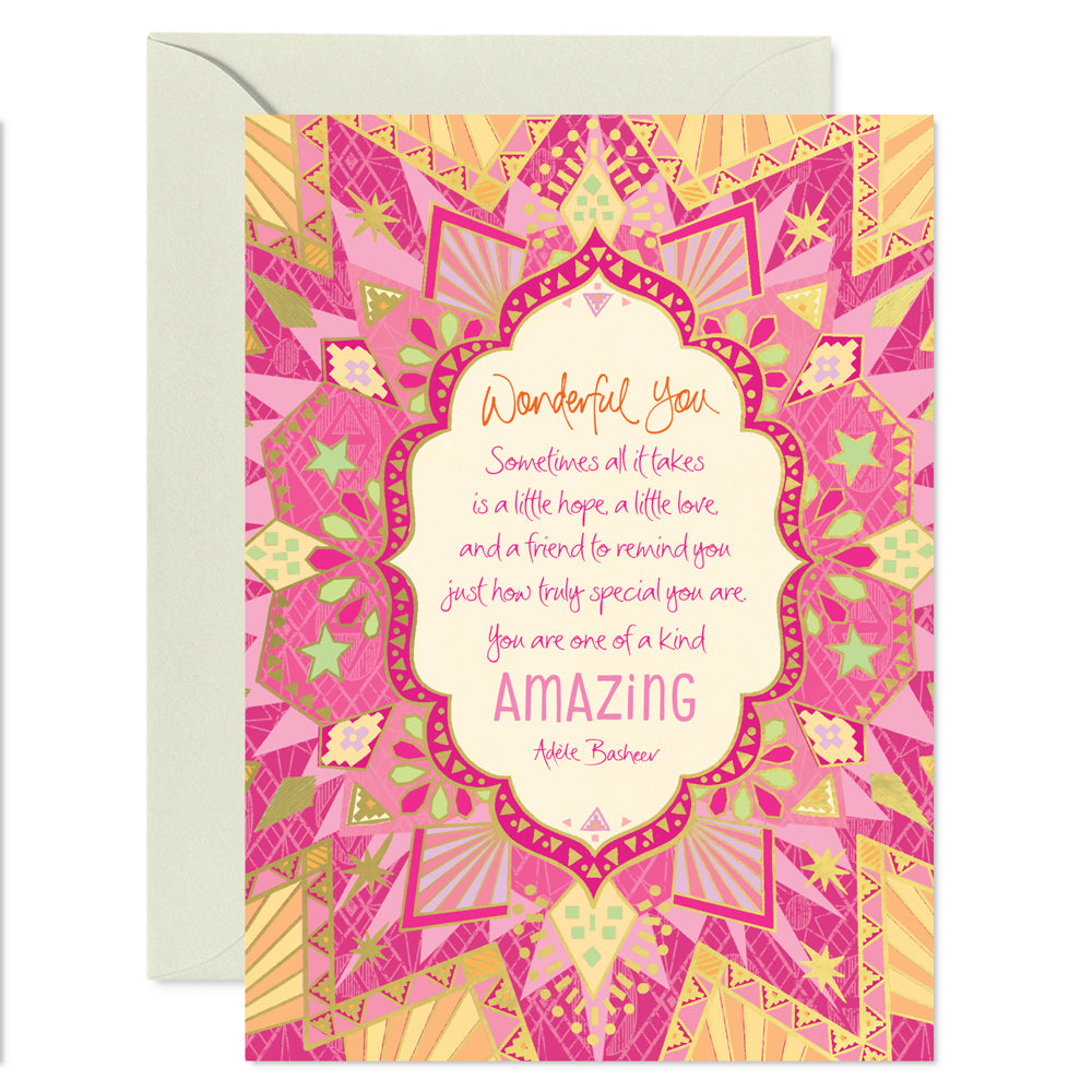 Pink Friendship Wonderful You Greeting Card by Adele Basheer