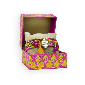 Intrinsic Hot Pink Golden Boho Bracelet Stack Gift Boxed for Gift Giving