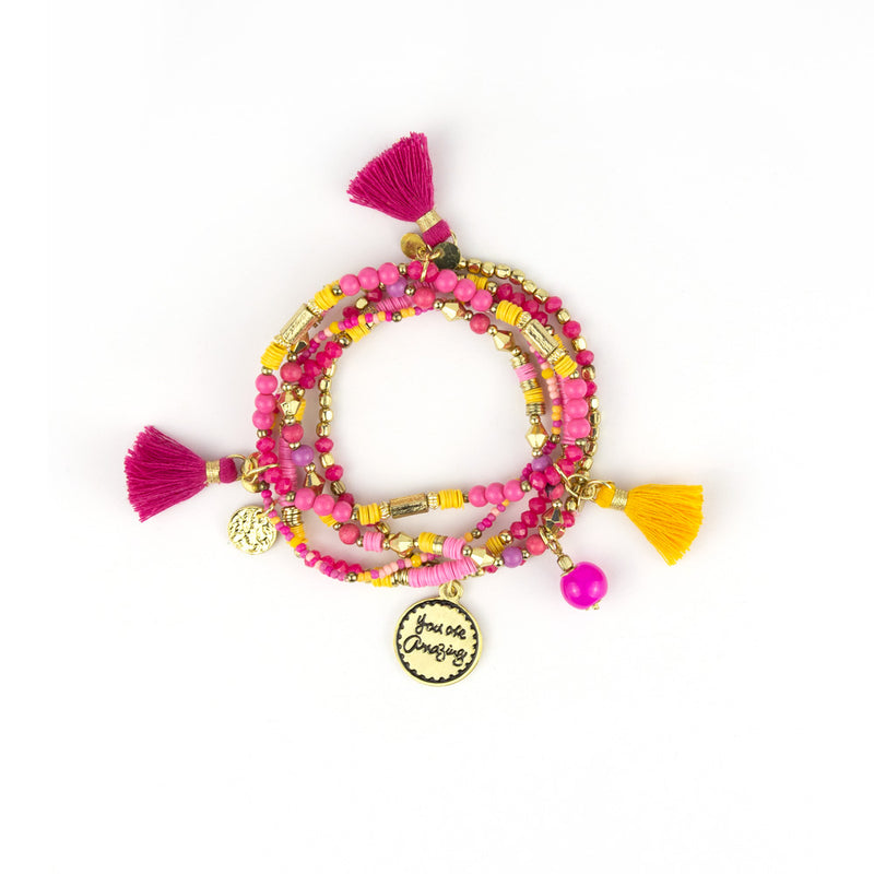 Intrinsic Hot Pink and Yellow Colourful Beaded Bracelet Stack