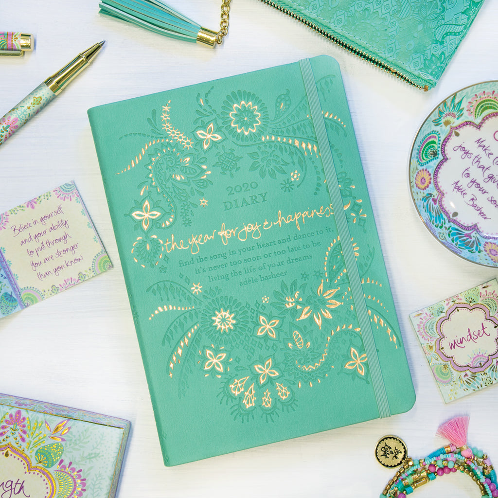 Intrinsic 2020 Tahitian Turquoise Aqua Diary, Planner + Journal with inspirational quotes