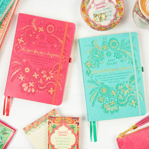 Intrinsic 2020 Diary and Planner for a Year of Joy and Happiness. Turquoise aqua and coral diaries with Adèle Basheer's motivational quotes and messages