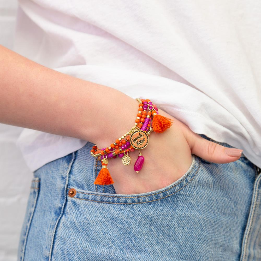 Intrinsic orange and hot pink arm candy beaded boho bracelet set