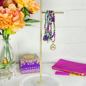 Intrinsic's Adèle Basheer Soulful Purple, Aqua and Turquoise Beaded Charm Bracelet Stack and Accessories with Positive Words