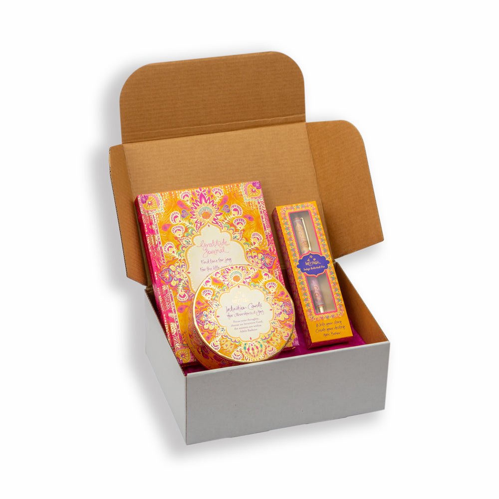 Australian Adèle Basheer Intrinsic Gratitude, Joy and Happiness Yellow and Pink Self Care Gift Box