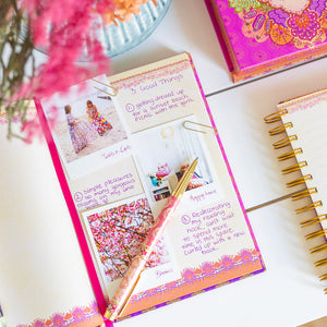 Intrinsic Hot Pink and Orange A5 Journal with inspiring stationery