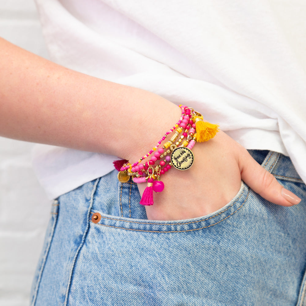 Intrinsic Hot Pink You Are Amazing Beaded Charm Bracelet Stack