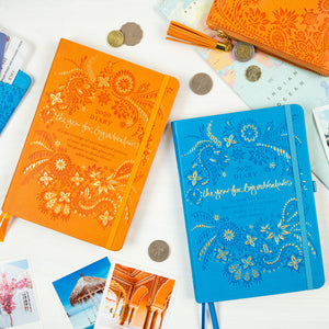 Intrinsic 2020 Diary and Planner for a Year of Big Adventures. Blue and orange diaries with Adèle Basheer's motivational quotes and messages