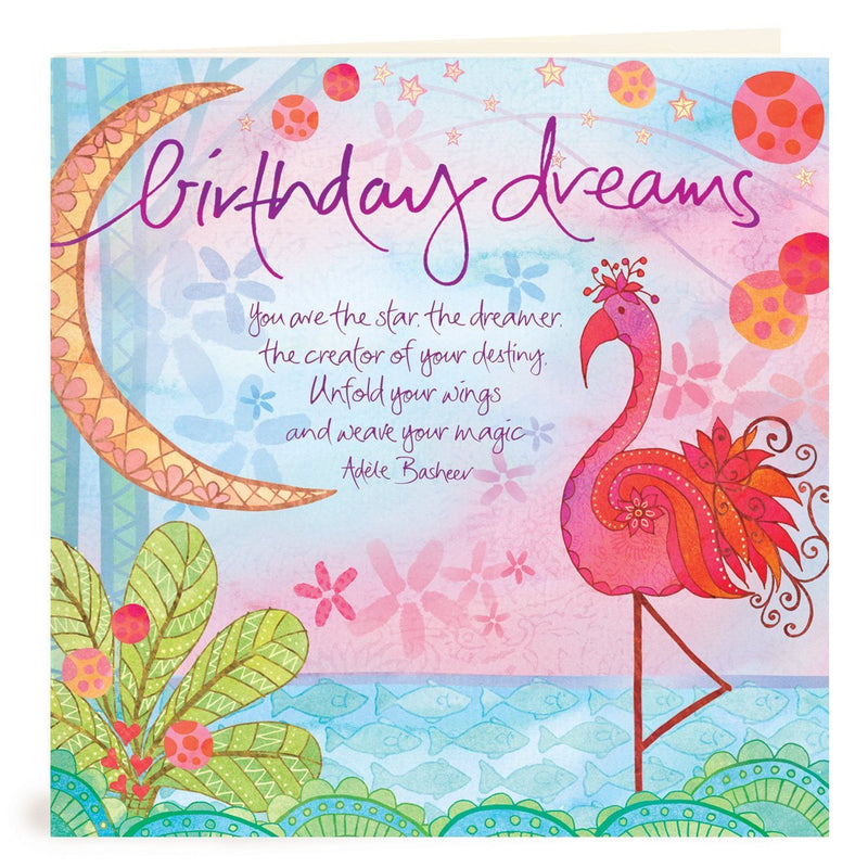 Intrinsic-Birthday Dreams Flamingo Greeting Card
