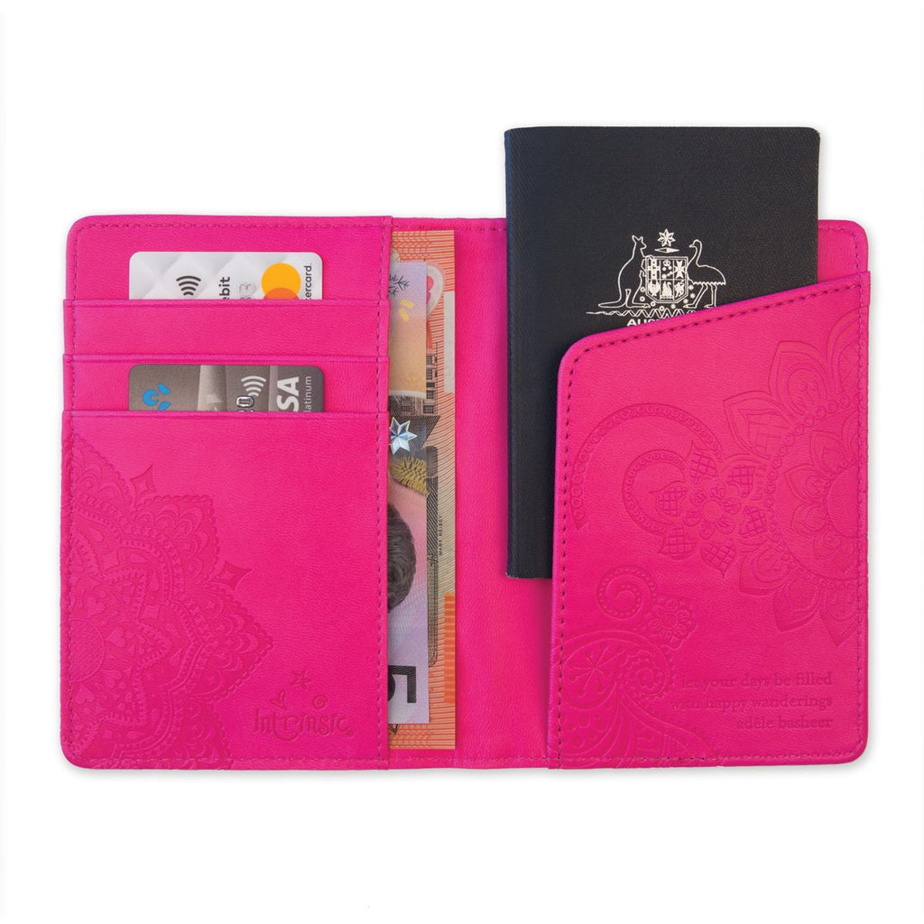 Intrinsic Carnival Hot Pink Passport Wallet, Passport Holder, Passport Cover
