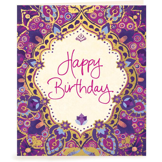 Intrinsic-Happy Birthday Purple Gift Tag