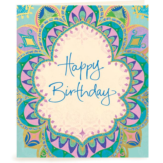 Intrinsic-Happy Birthday Turquoise Gift Tag