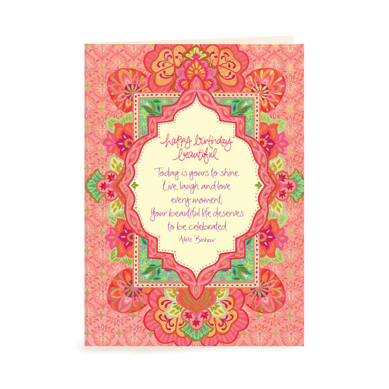 Australian Intrinsic Pink and Coral Happy Birthday Beautiful Greeting Card with Adèle Basheer words