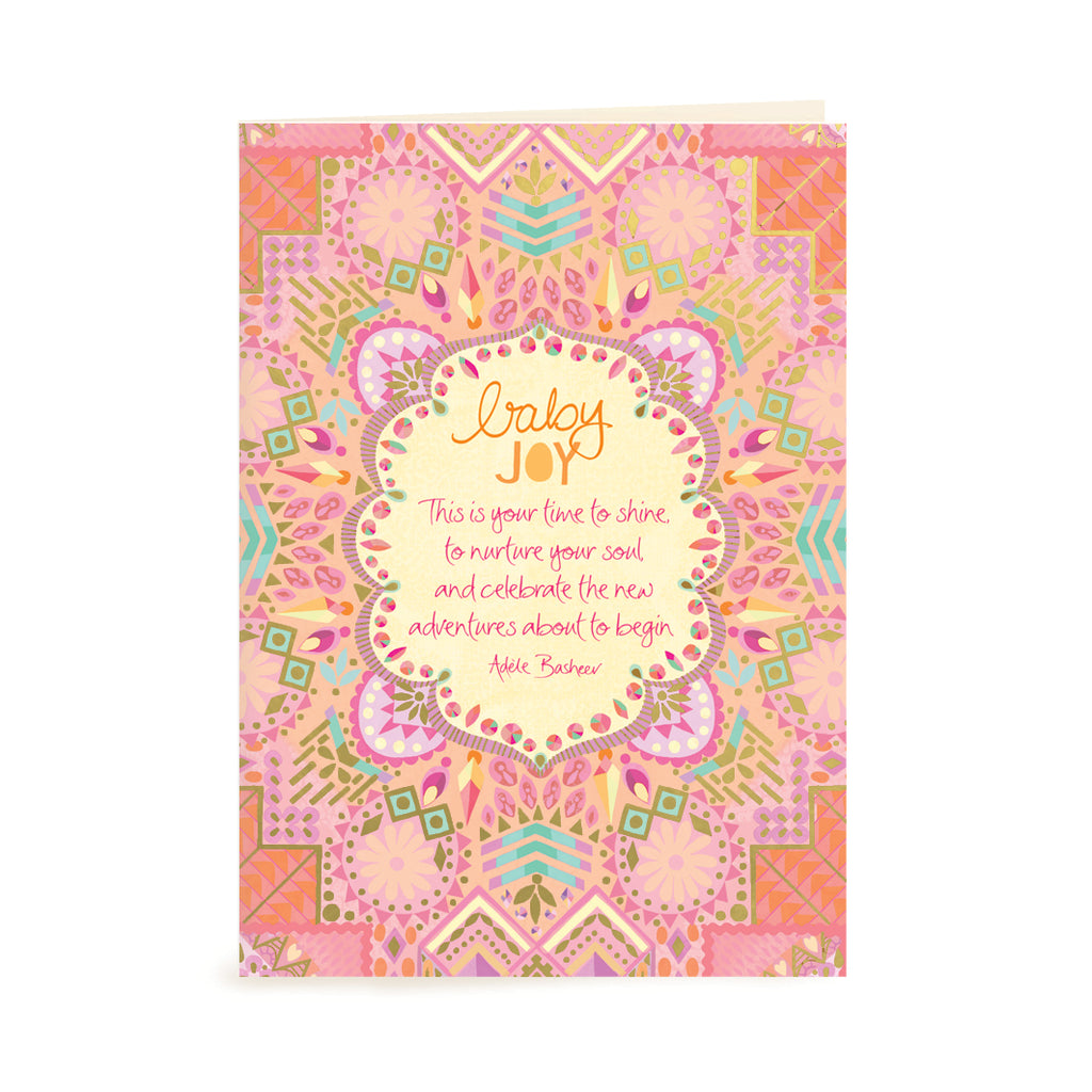 Intrinsic Pink Baby Girl Shower Greeting Gift Card with inspirational baby quote