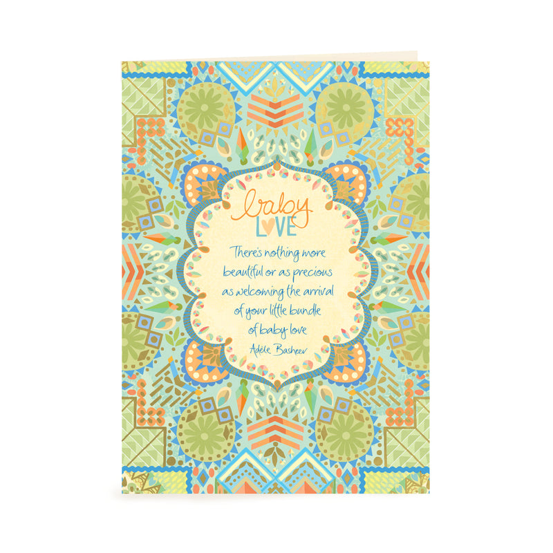 Intrinsic Blue and Green Baby Love Greeting Card with inspirational quote