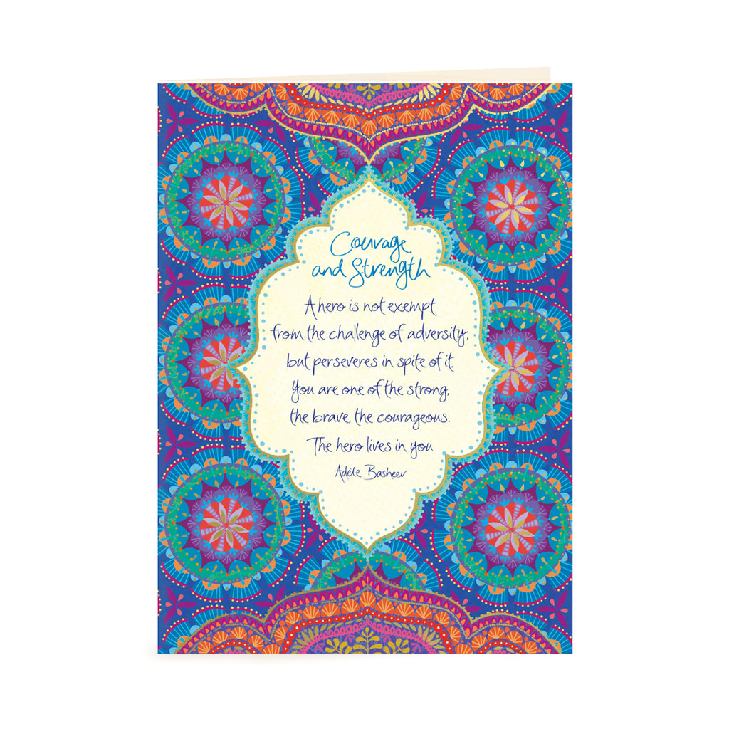Australian Intrinsic Blue Courage & Strength Greeting Card with Inspirational quote