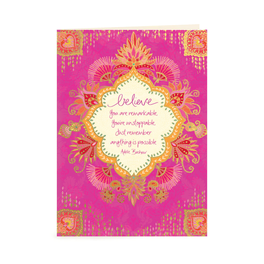 Intrinsic Hot Pink Words of Encouragement Greeting Card with Inspirational Quote