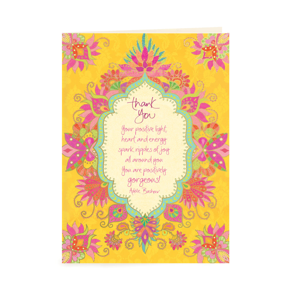 Australian Intrinsic Yellow Thank You Greeting Card with Adèle Basheer's inspirational words