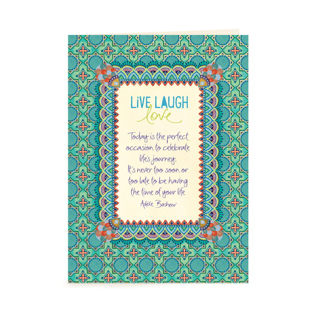 Australian Intrinsic Blue and Green Greeting Card with Inspirational Quote