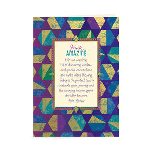 Intrinsic You're Amazing Blue and Green Male Inspirational Greeting Card