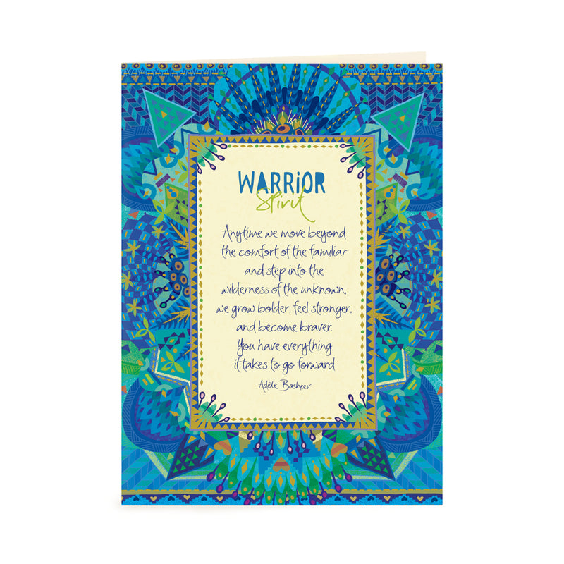 Intrinsic Blue Warrior Spirit Greeting Card with Inspirational Quote