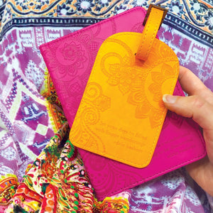 Intrinsic Marigold Yellow Luggage Bag Tag with travel quotes for the perfect travel accessory